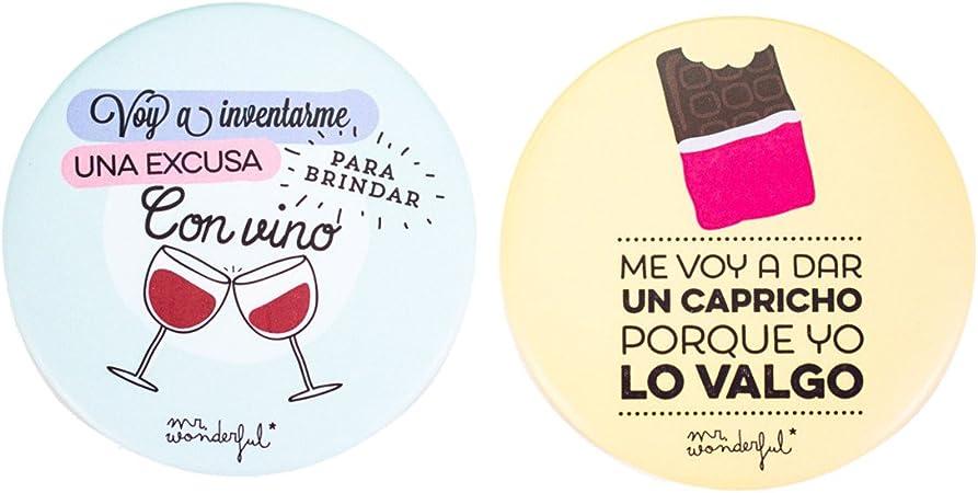 Mr. Wonderful Pack de 2 imanes molones Vino y Chocolate, Otro, Multicolor, 7.60x7.60x2.00 cm, 2 Unidades: Amazon.es: Hogar