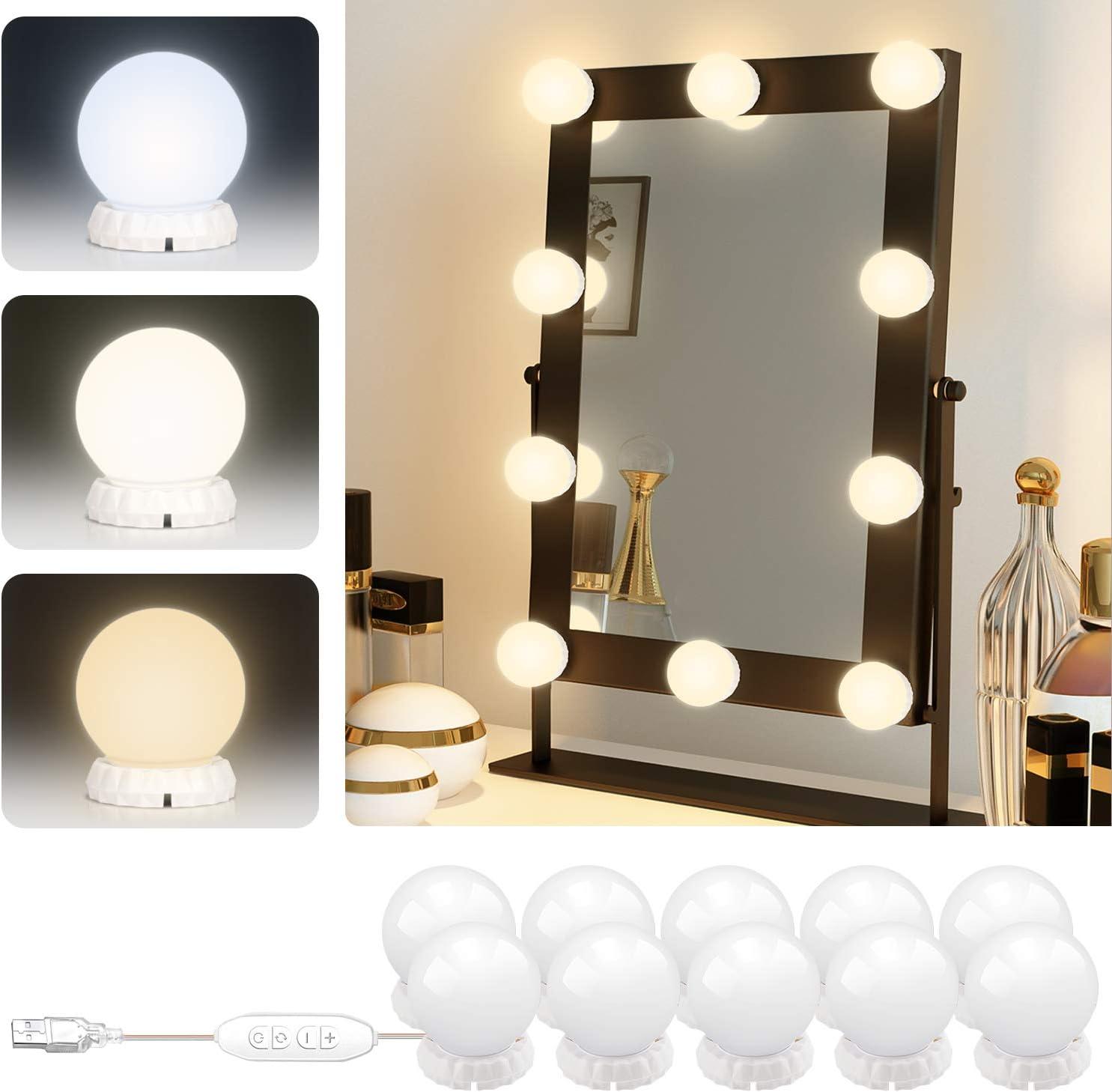 Lumi/ère de Miroir LED Rose Kit de Lumi/ère LED 10 Ampoules Luminosit/é R/églable 3 Couleurs 10 Niveaux de Luminosit/é avec Adaptateur Rose