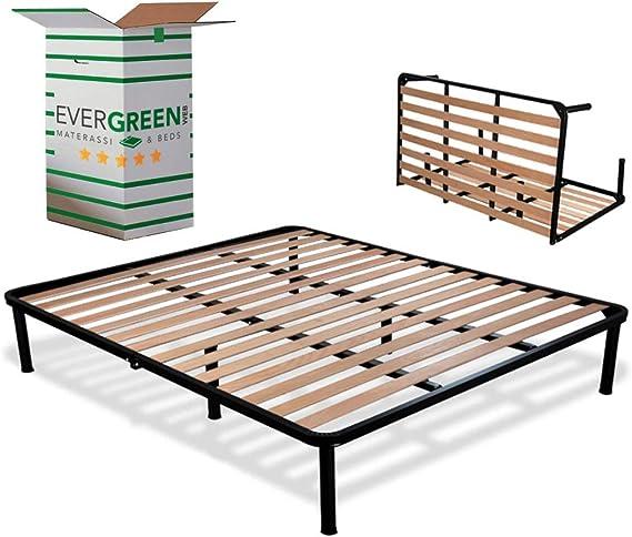 EvergreenWeb - Somier Cama Plegable Doble 140 x 200 con somier de Madera ortopédico, Estructura portante Completamente de Hierro, Base de Integrado ...