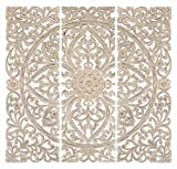 Deco 79 Wood Plaque S/3 Can Be Placed Anywhere Wall Décor, 48' x 48', White