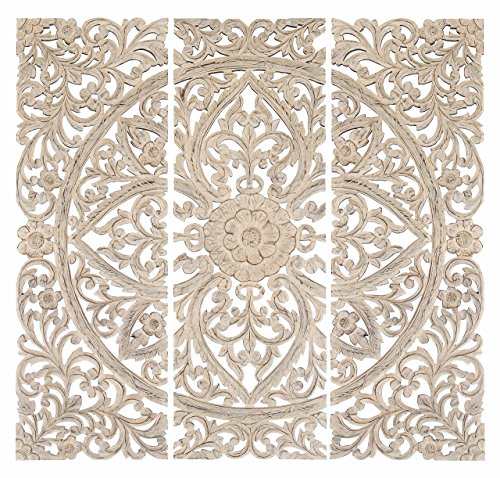 """Deco 79 Wood Plaque S/3 Can Be Placed Anywhere Wall Décor 48"""" x 48"""" White from Deco 79"""