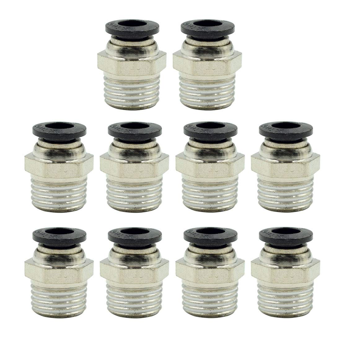 TOUHIA Pneumatic Male Straight 6MM Tube OD x 1//4 PT Thread Push to Connect Fittings PC 6-02 10PCS