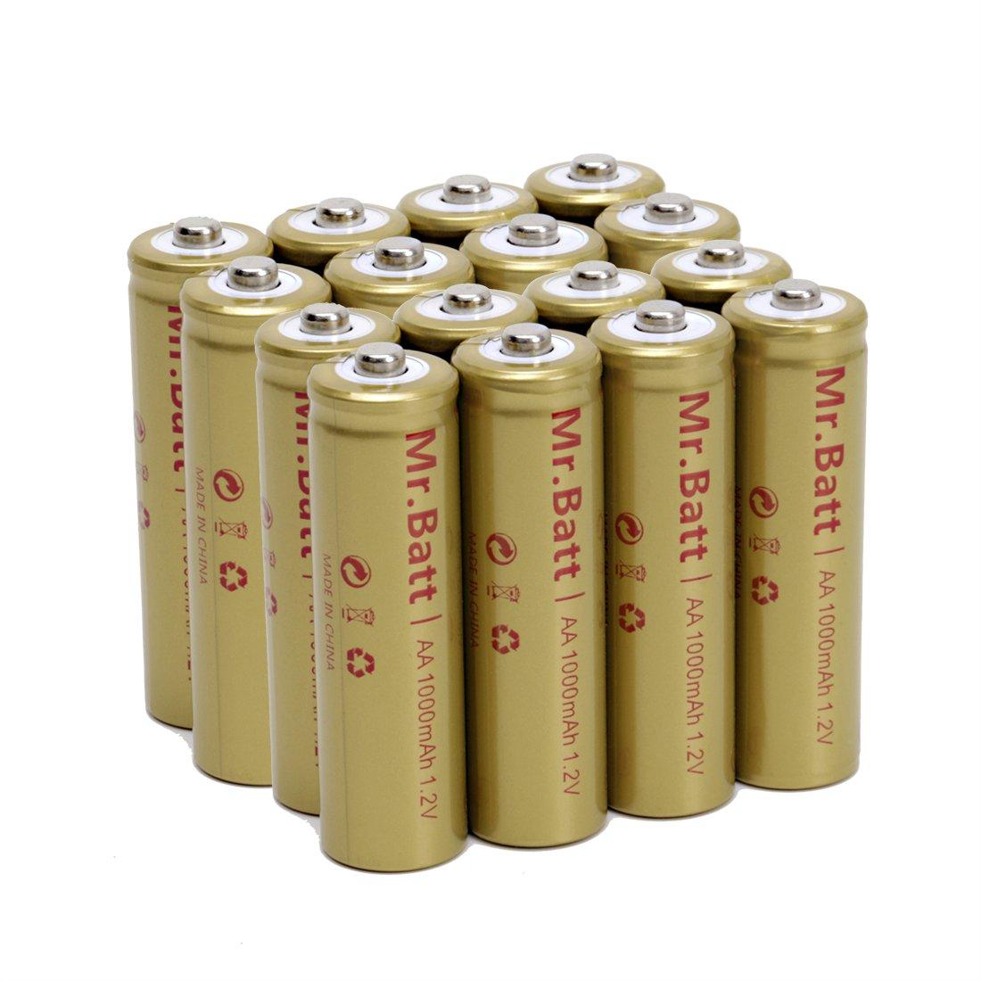 Mr.Batt NiCd AA Rechargeable Batteries for Solar Lights, 1000mAh, 1.2V, 16 Pack by Mr.Batt