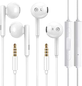 iPhone Earphones,2 Pack 3.5mm Jack Wired Earbuds with Microphone,Noise Isolating,High Definition in-Ear Headphones Compatible with iPhone 6s/6 Plus/SE,iPod,iPad,Samsung,Android Smartphones,MP3, MP4