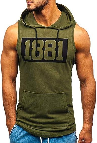 Ulanda Mens Casual Sleeveless Workout Tank Top Hooded T-Shirt Lightweight Fitness Gym Sport Hoodies Mens Tank Tops