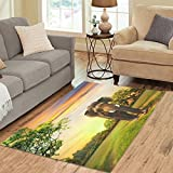 InterestPrint Area Rug Elephant on Sunset Anti Skid Carpet 5'3 x 4', Indian Africa Animal Modern Indoor Floor Rugs Mat Collection for Room Home Decor