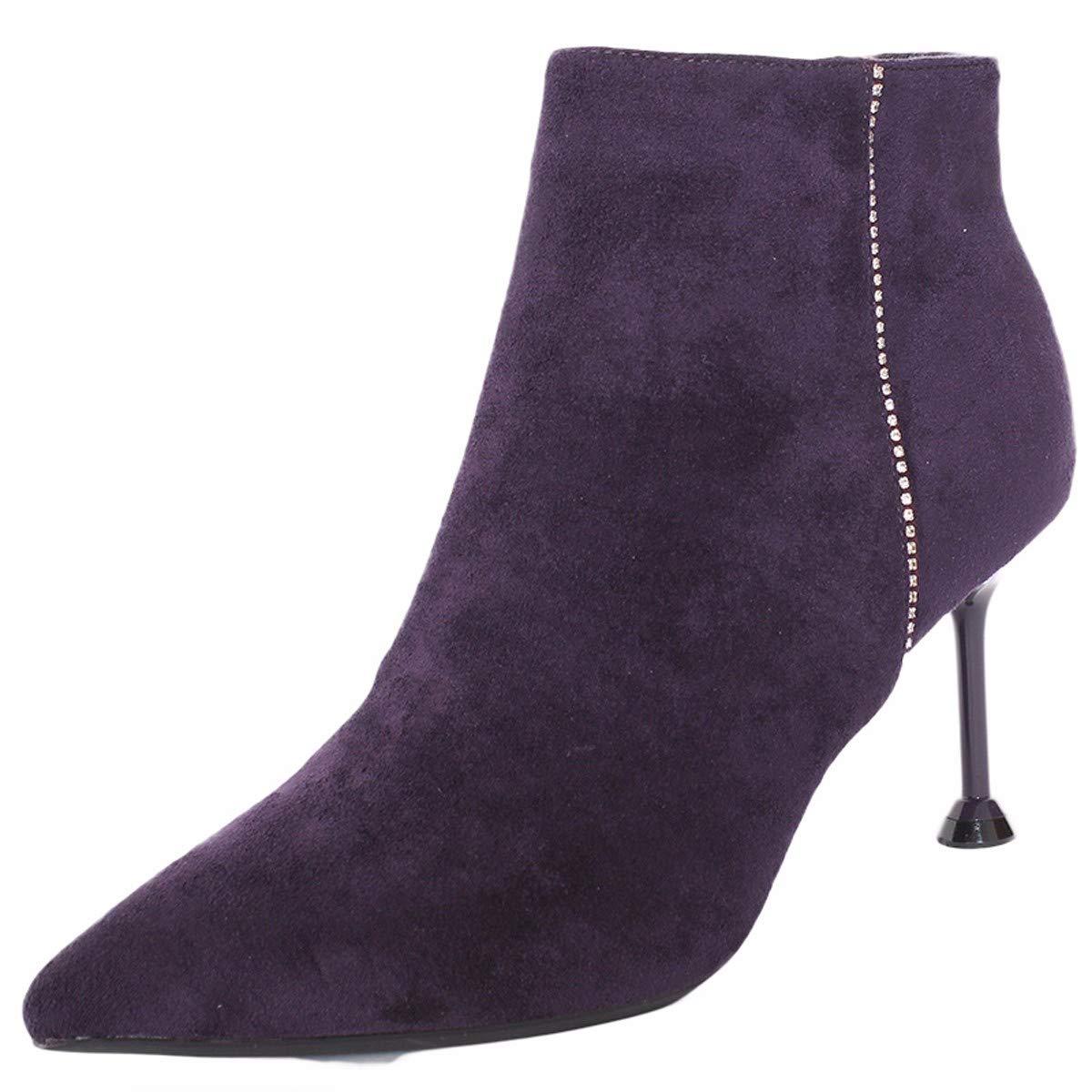 LBTSQ-Mode/Damenschuhe/Spitz Dünn Und Ferse Mit Hohen 8 cm Kurze Stiefel Reißverschlüsse Samt Mode Wild Schuhe Martin Schuhe.