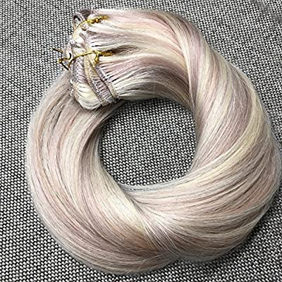 Ugeat 14inch 9Pcs Per Set 120Gram Clip in Hair Extensions Piano Color Ash Blonde 18 and Bleach Blonde Color 613 Highlight Real Human Hair Clip Extensions Full Head Set
