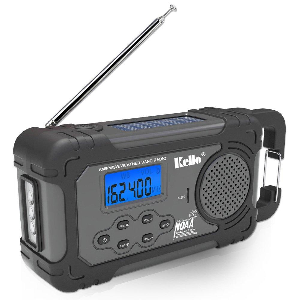 Kello Solar Crank NOAA Weather Radio Emergency AM/FM/SW/All Hazard Public Alert, Flashlight, Alarm Clock, Power Bank Function
