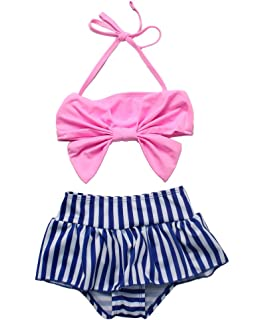 76f61b2fb2 Amazon.com: gsch Baby Girls 3 Pcs Swimwear Striped Halter Bow Top+ ...