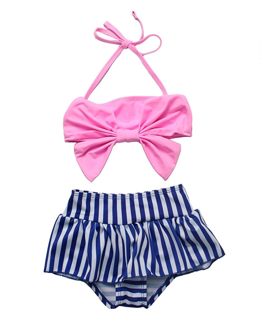 Cute Baby Bikini Big Bowknot Stripe 2 Pieces Skirt Swimwear Sets Three Babies_081