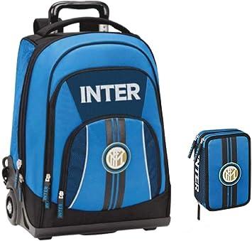 Kit completo de mochila escolar FC Inter 2020 + estuche de 3 pisos completo + bolígrafo con purpurina y llavero con brillantina: Amazon.es: Equipaje