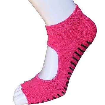 Liuxc Calcetines de yoga Calcetines de Yoga, Antideslizantes Dedos Cinco Calcetines Expuestos Dedos de los pies, señoras Profesionales Deportes impresión ...
