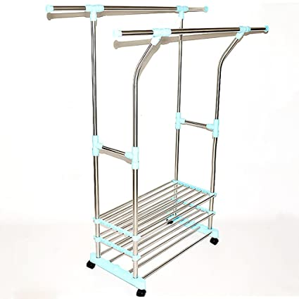 Double Folding Clothes Rail, Rolling Clothes Hanger, Retractable Balcony Storage  Shoe Rack, L85