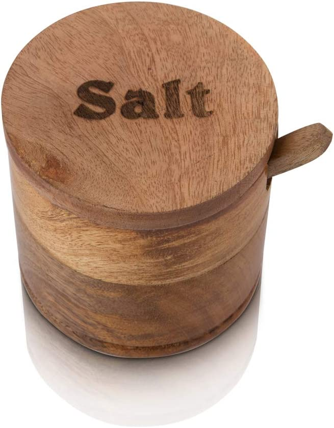 Decorative Rustic Wooden Salt Seasonings Bowl Box Cellar Keeper With Lid /& Spoon Wide Mouth Herb Spice Jar Holder Serving Bowl Pantryware Serverware Loose Tea Storage Container Novelty Home /& Kitchen