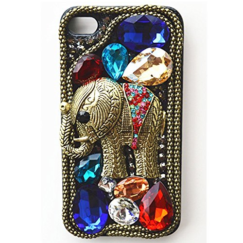 EVTECH(TM) Vintage Retro Elephant Elegant Luxury 3D Handmade Fashion Crystal Rhinestone Bling Case Cover Hard Case Clear(100% Handcrafted) (iPhone 6/iPhone 6s 4.7 inch)