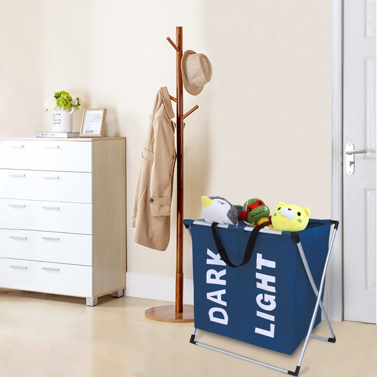 Chrislley X-frame Laundry Hamper Basket Dirty Clothes Laundry Basket Large Home Laundry Hamper Sorter Laundry Bag (Blue)