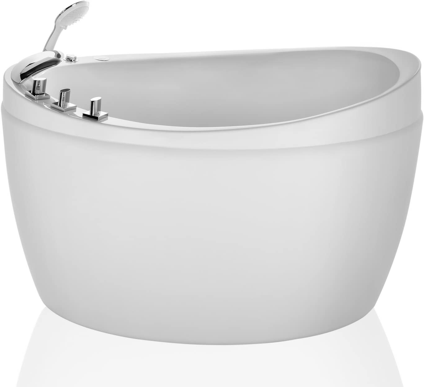 Empava 48 in. Freestanding Air Mirco Bubble Hydrotherapy Oval Japanese SPA Tub Bathtub, White