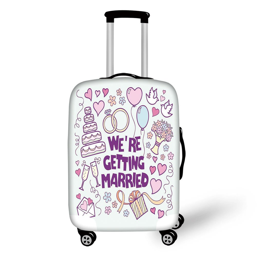 Travel Luggage Cover Suitcase Protector,Wedding Decorations,Were Getting Married Happy Celebration Ceremony Collection Doves,Purple Blue Pink,for Travel