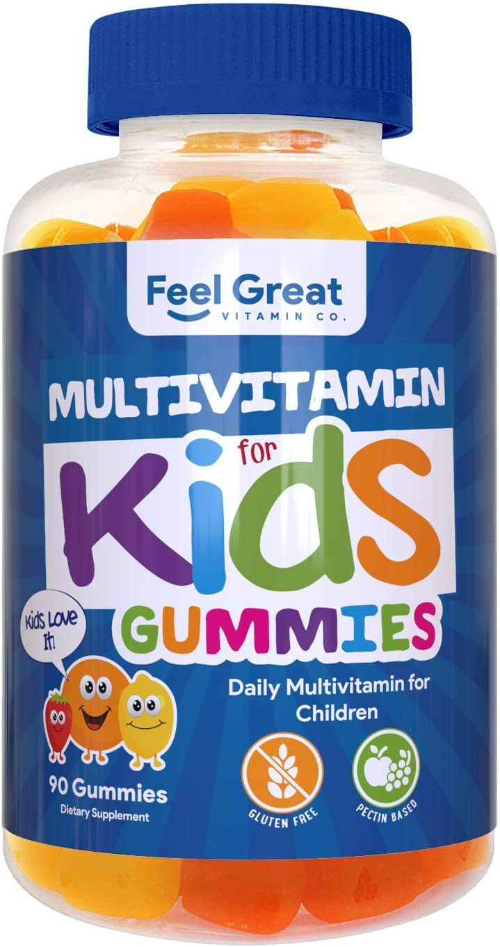 Feel Great Vitamin Co. Multivitamin Gummies for Kids Daily Chewable Supplement for Children with Vitamins A, Vitamin C, D3, E, B6, B12, Zinc, Iodine Immune System Wellness Support* 90 Ct