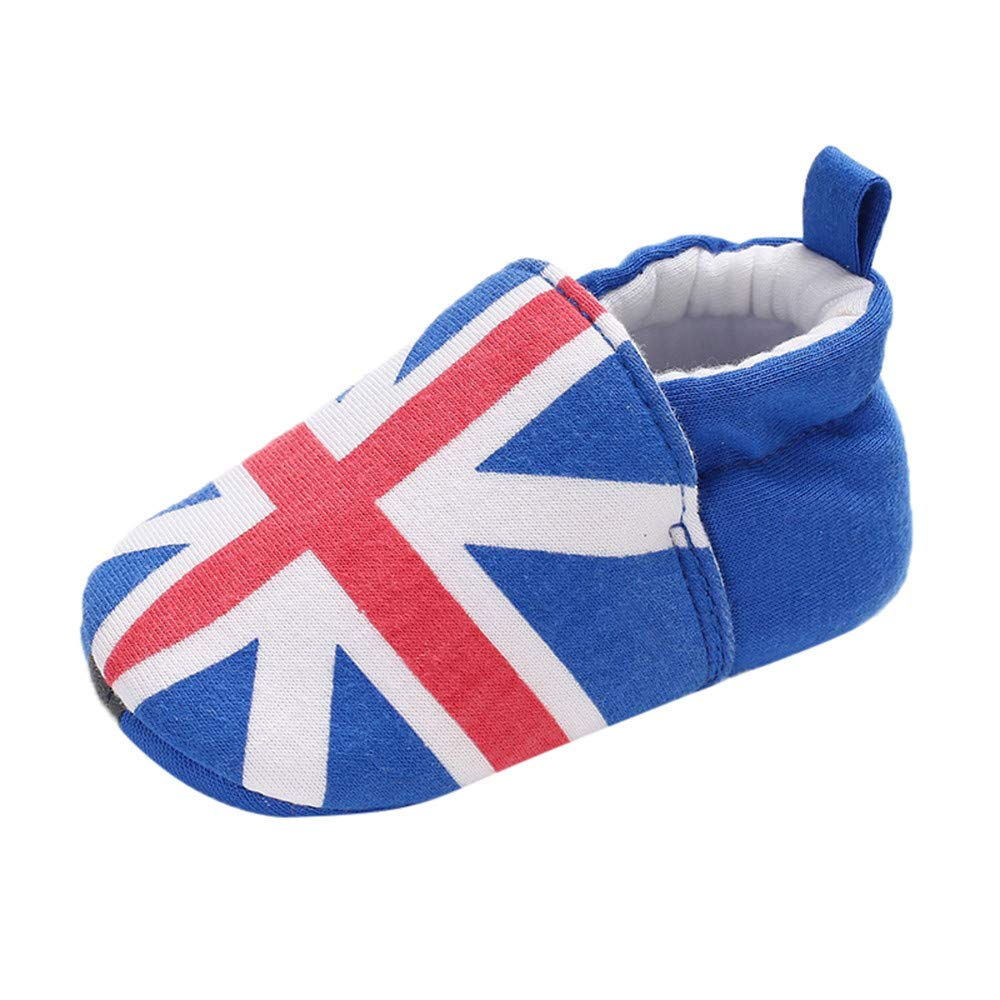 NUWFOR Baby Girl Soft Booties Snow National Flag Floor Shoes Prewalker Warm Shoes(Blue,12~18 Month)