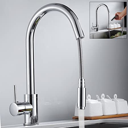 Kitchen Sink Taps Hole Pull Out Sprayer Kitchen Faucet Chrome