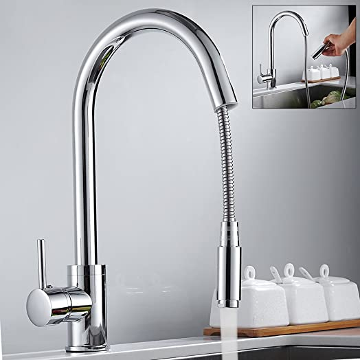 Kitchen Sink Taps Hole Pull Out Sprayer Kitchen Faucet Chrome ...