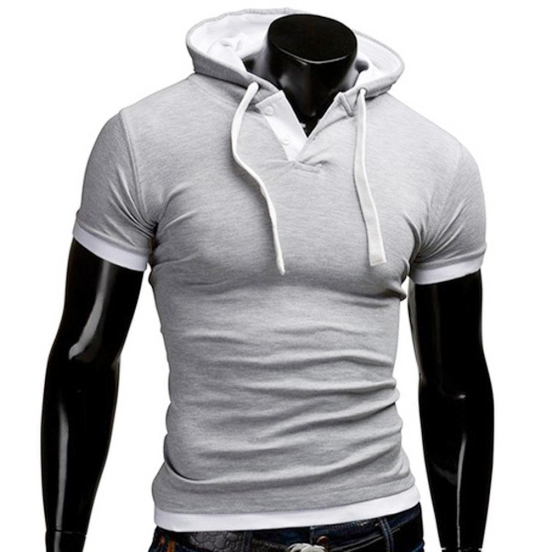 Coper Summer Fashion Mens Casual Hooded Pullover Short-Sleeved T-Shirt XL, Blue