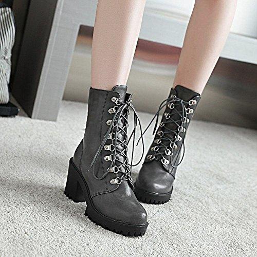 YE Damen Blockabsatz Ankle Boots Plateau High Heels Stiefeletten mit Schnürung und 8cm Absatz Elegant Modern Schuhe Grau