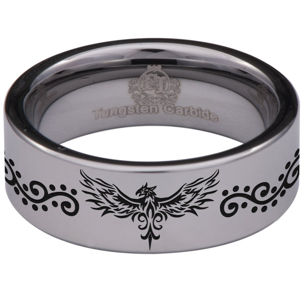 Friends of Irony Silver Tungsten Carbide Phoenix Ring 8mm Wedding Band Anniversary Ring for Men and Women Size 14.5