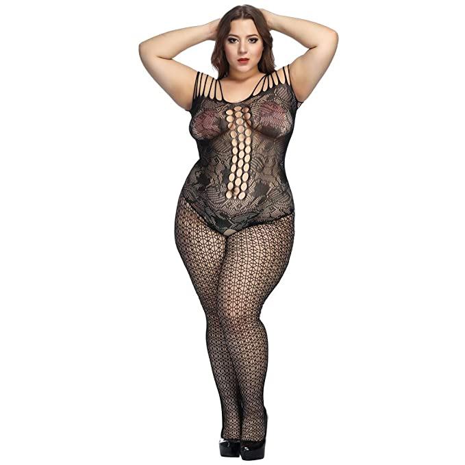 a5e8a9aef9f20 Amazon.com  Deksias Fishnet Bodystocking Plus Size Crotchless Bodysuit  Lingerie for Women  Clothing