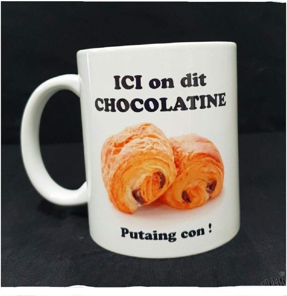 macarel Mug Blanc d/écor/é Ici on Dit Chocolatine