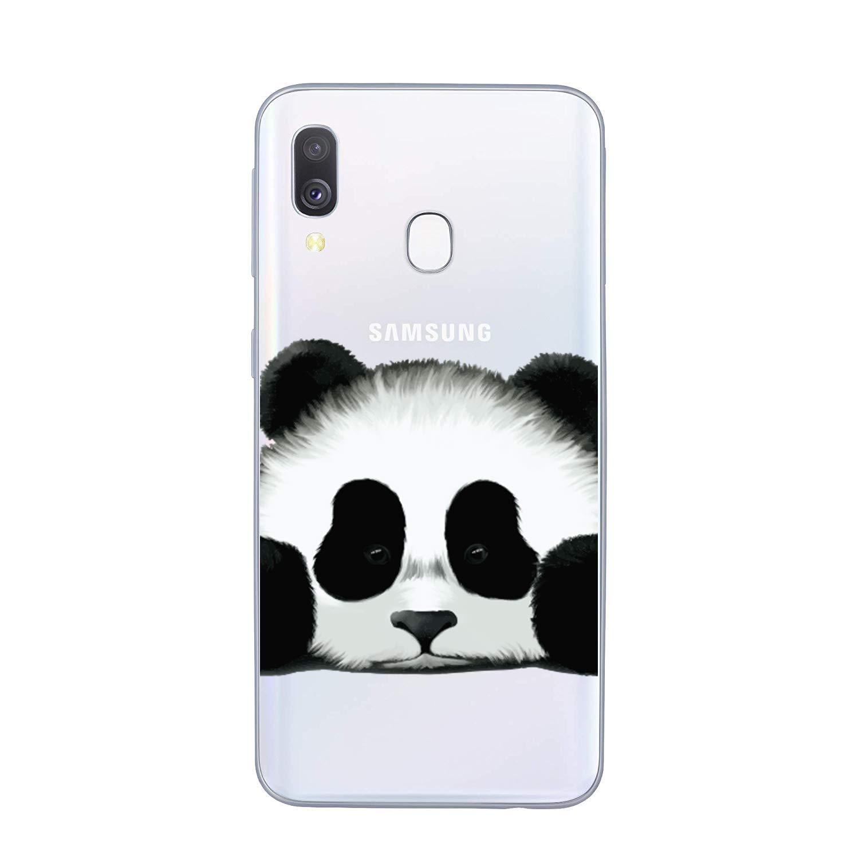 C Motif HopMore 3 Compatible avec Coques Samsung Galaxy A40 2019 Silicone Transparente Motif Panda Fleur Etui Souple Housse Samsung A40 Antichoc Mince Fine Case Housse pour Fille Filles Femme