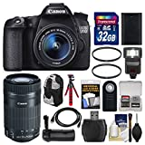 Canon EOS 70D Digital SLR Camera & EF-S 18-55mm IS with 55-250mm IS STM Lens + 32GB Card + Backpack + Flash + Battery + Grip + Tripod Kit