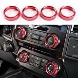 Aluminum Alloy Car Inner side Air Conditioner Switch Knob Ring Cover Trim For Ford F150 (Red)