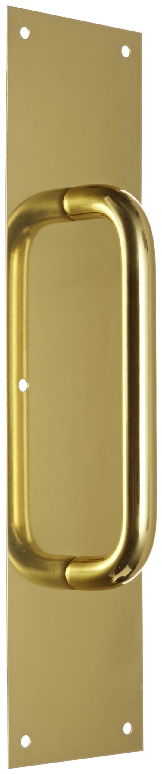 Rockwood 107 X 70C.3 Brass Pull Plate, 16'' Height x 4'' Width x 0.050'' Thick, 8'' Center-to-Center Handle Length, 3/4'' Pull Diameter, Polished Clear Coated Finish