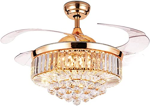 LUOLAX 42 inch Crystal Remote Control Gold Ceiling Fan Light