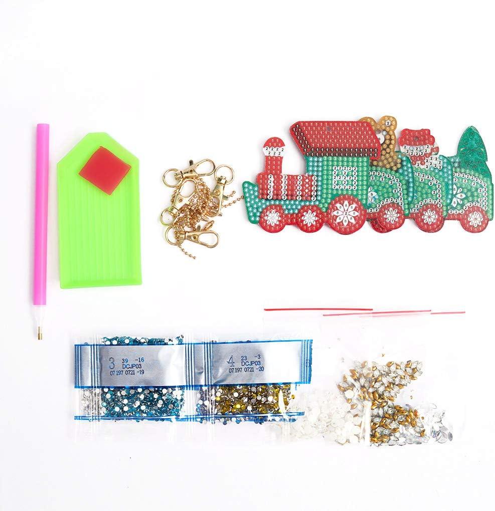 Fornateu Tren en Forma de Taladro Completo Llavero Conjunto de Navidad DIY Rhinestone Llavero Colgante del Bolso Que cuelga Llavero