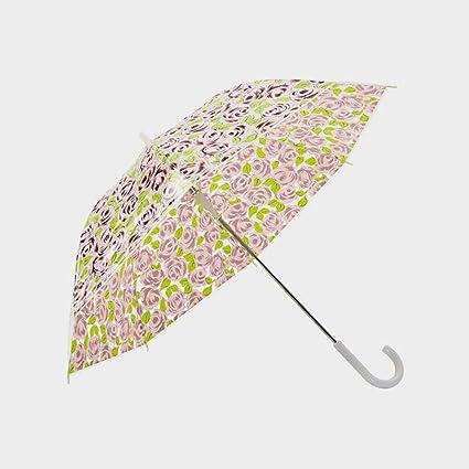 KXBYMX Paraguas Transparente, Paraguas automático con Mango Largo Engrosado, Paraguas Paraguas pequeño, (