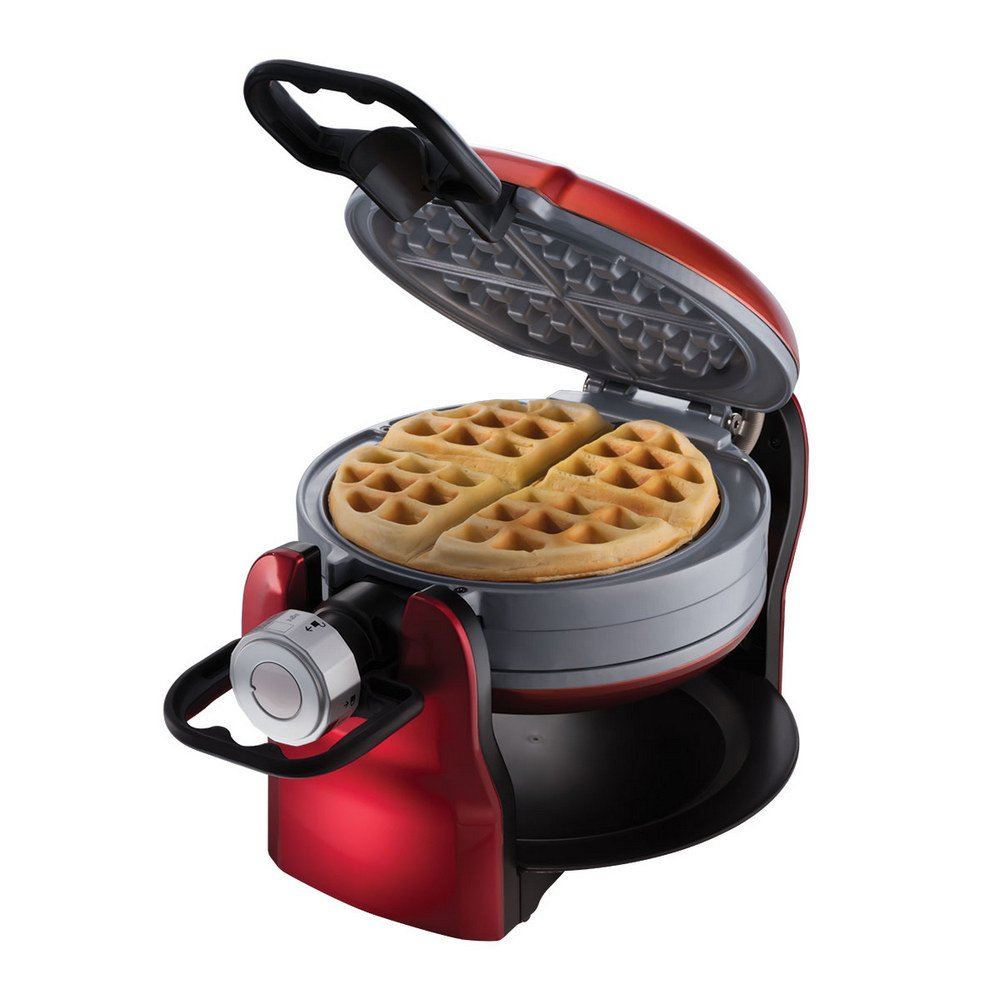 Oster DuraCeramic Titanium Infused Double Flip Waffle Maker, Red CKSTWF20R by Oster (Image #1)
