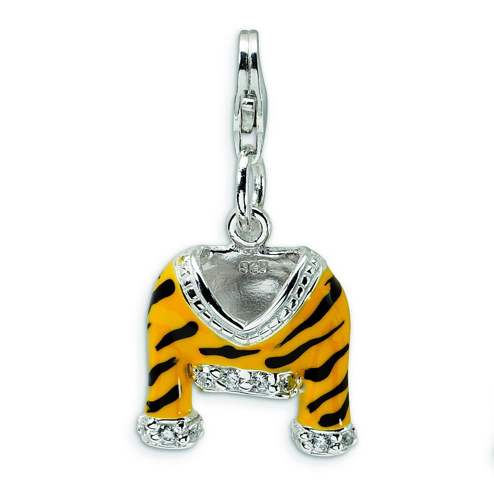 Sterling Silver Rhodium-plated Fancy Lobster Closure CZ Polished Enamel Tiger Jacket With Lobster Clasp Charm - Measures 29x15mm