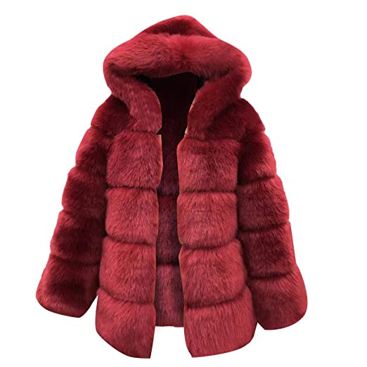 Xturfuo Large Size Womens Imitation Mink Hooded New Faux Fur Coat Warm Thick Cardigan Coat Wine at Amazon Womens Coats Shop