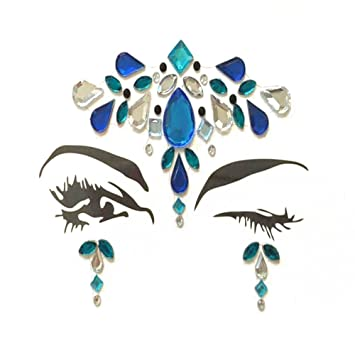 Amazon.com   Face Gems Rhinestone Colorful Sticker Tattoo Jewelry Stick on Face  Festival Jewels for Forehead Body Decorations   Beauty 8b4c81943044