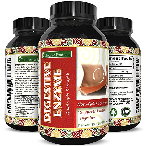 Pure Natural Digestive Enzymes for Women and Men with Protein and Carbohydrates to Stop Bloating and Flatulence With Protease Enzyme , Bromelain Supplements, Lactase Pills and Acidophilus