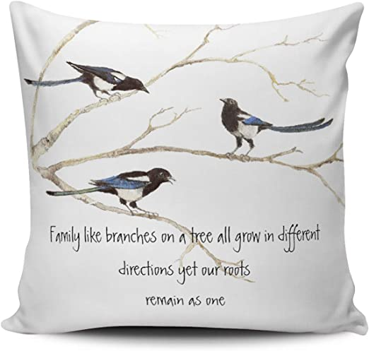 Amazon Com Wulihua Decorative Throw Pillow Covers White Watercolor Magpie Family Quote Animal Nature European Outdoor Cushion Cover Pillowcase Size 26x26 Inch Simple And Elegant Design Double Sided Printed Home Kitchen