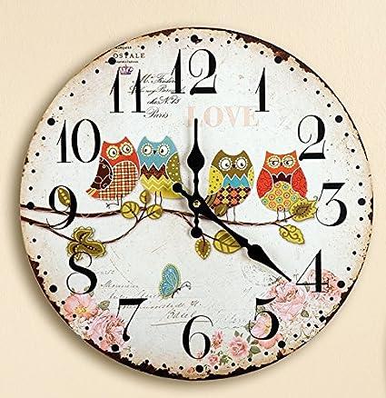 Reloj de pared nostálgico, reloj de cocina, reloj decorativo con 4