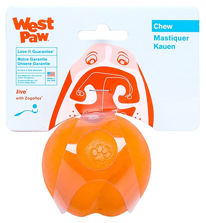 West Paw Zogoflex Jive Durable Nearly Indestructible Dog Ball Chew-Fetch-Play Dog Toy, 100% Guaranteed Tough, It Floats!, Made in USA, Large 3-1/4-Inch, Tangerine
