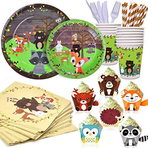 Woodland Animal Themed Party Supplies Plates Dessert Plates For Kids Toddlers Woodland Creature Birthday Party Decorations -