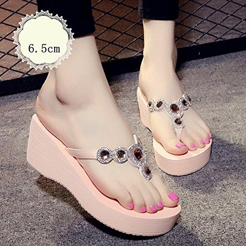 Mujeres Señoras Sandalias Zapatillas de moda Zapatillas deslizantes de fondo grueso femenino del verano de los pies de las mujeres Sandalias del estudiante Zapatos de la playa Cómodo ( Color : A-6.5cm C-6.5cm
