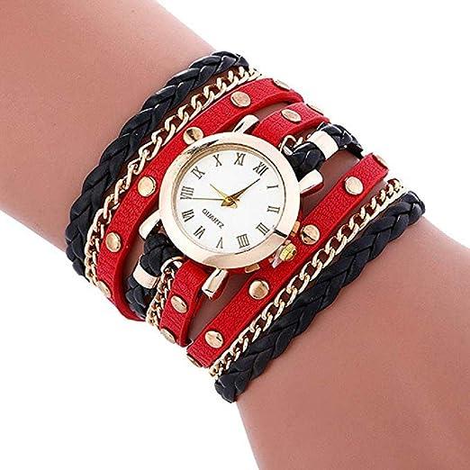 Relojes de Pulsera para Mujer Liquidación Relojes de señora Relojes  Femeninos de Cuero en Oferta Relojes (Rojo)  Amazon.es  Relojes 41817247261c